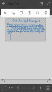 Screenshot of selected text in the Equil Note app